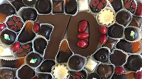 Custom Tray of Assorted Chocolates for a 70th Birthday Celebration
