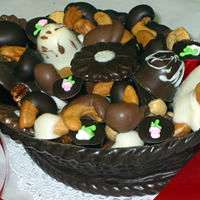Edible Chocolate Baskets: filled with handmade chocolates, truffles, nuts and fruit