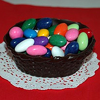 Small Edible Chocolate Basket filled with Chocolate Almonds