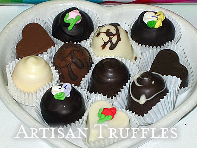 Select assorted handmade chocolates: fruit clusters, beehive bark, coconut cremes, buttercrunch, nuts, turles, caramel, truffles and more