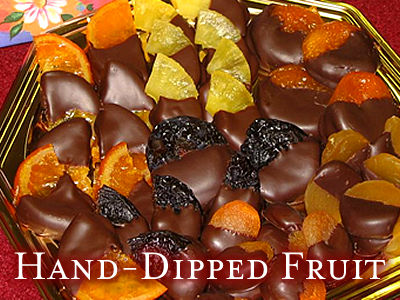 Fruit Hand-Dipped in Chocolate including pineapple, apricots, raisins & cranberries